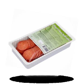 Gesneden pepperoni salami