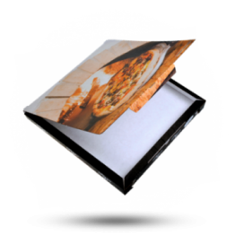Pizzabox 32x32x3cm C. Kraft/Kraft Zwart