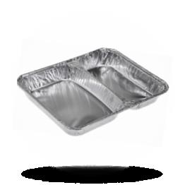 Aluminium menubakken 2-vaks, laag, 355-504cc, 213 x 163 x 30mm