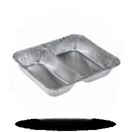 Aluminium menubakken 2-vaks, hoog, 550-415cc, 214 x 165 x 38mm (785/R)