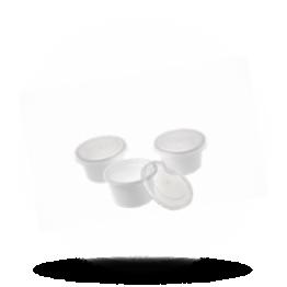 Botercupje met deksel 30cc, wit/transparant
