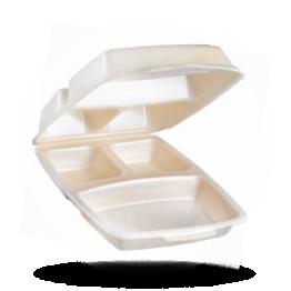 Dinnerbox 3-vaks, gelamineerd, beige