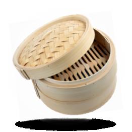 "Bamboe stoommandje 10"" Ø 25cm set: 2 mandjes, 1 deksel"