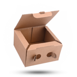 Snackbox Karton Kraft Bruin, 13x13x7,5cm